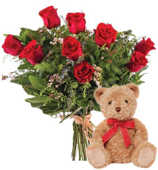 3660 - 9 Red Roses and Teddy Bear