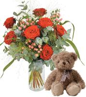 9903 - 7 Roses and Teddy