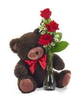 3680 - 3 Red Roses and Teddy Bear