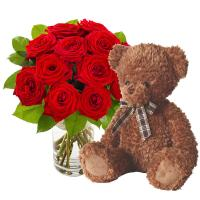5618 - 12 Roses with Teddy